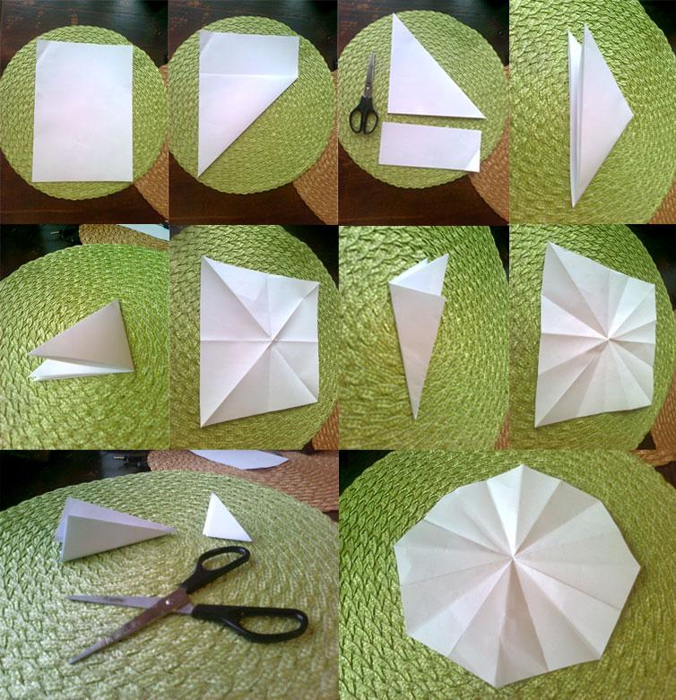 Як скласти папір для вирізання сніжинки