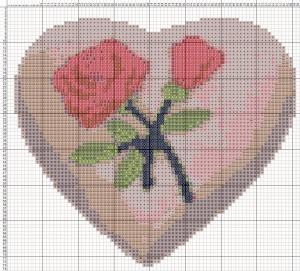 Схема вишивання хрестиком - Валентинка - Троянда кохання