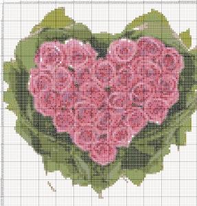 Схема вишивання хрестиком - Валентинка - Букет троянд