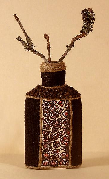 Декор пляшки з макаронів, крупи та гороху