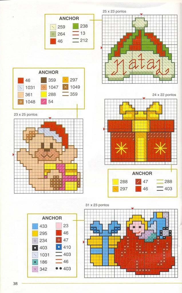 Новорічні схеми для вишивки хрестиком