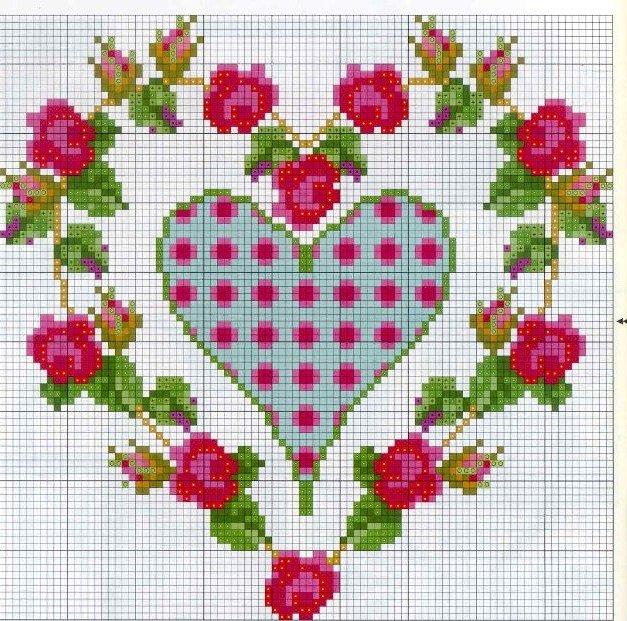 Схеми вишивки хрестиком валентинок