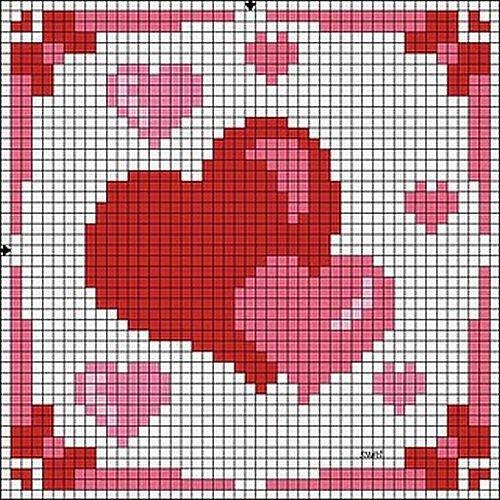 Схеми вишивки валентинок 6