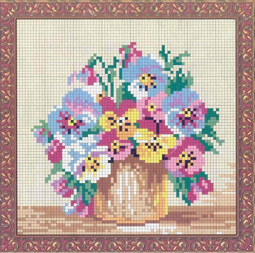 схема вишивки квіти