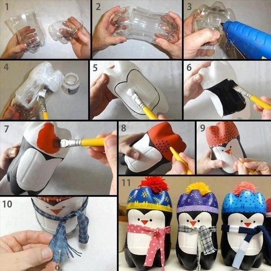 Виготовлення пінгвінів з пластикових пляшок