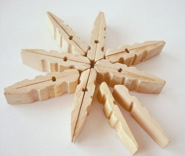 Сніжинки з прищіпок - фото 3