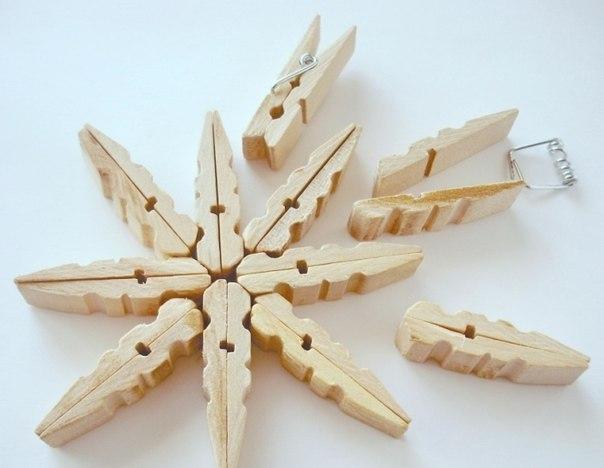 Сніжинки з прищіпок - фото 4