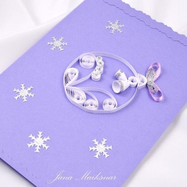 Новорічні листівки в техніці квіллінг - фото 7
